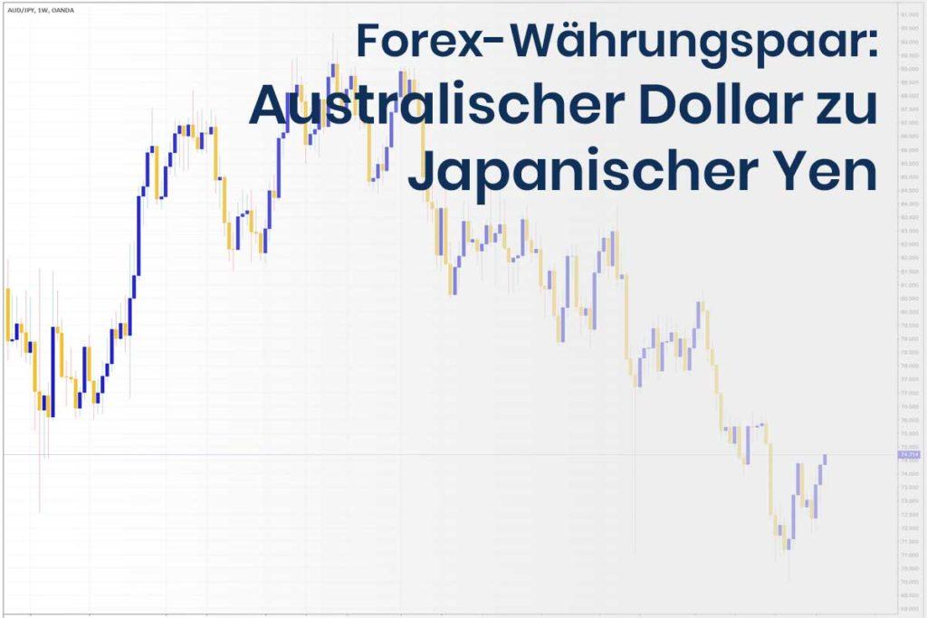 Forex Wechselkurs des Währungspaares Australischer Dollar zu Japanischer Yen